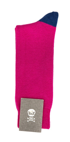 Regent cotton socks- pink with blue heel and toe