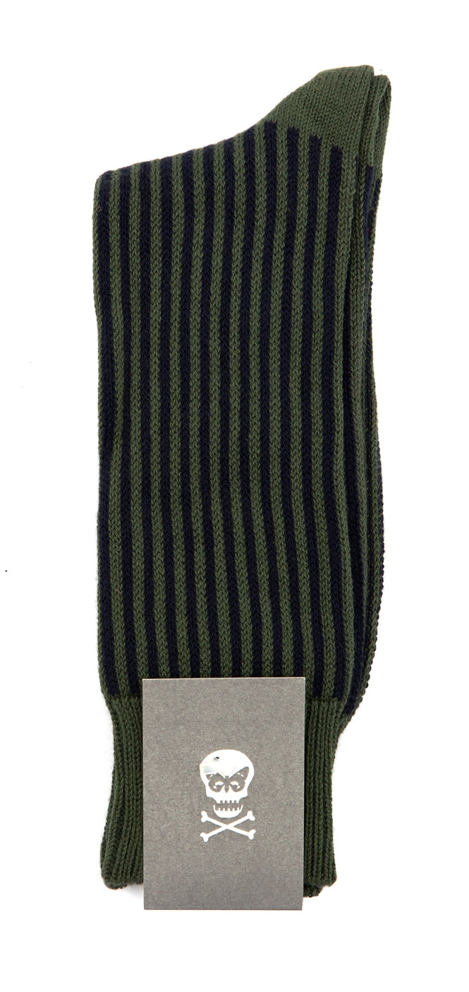 Regent Cotton Socks- Black and Khaki Green Stripe - Regent Tailoring