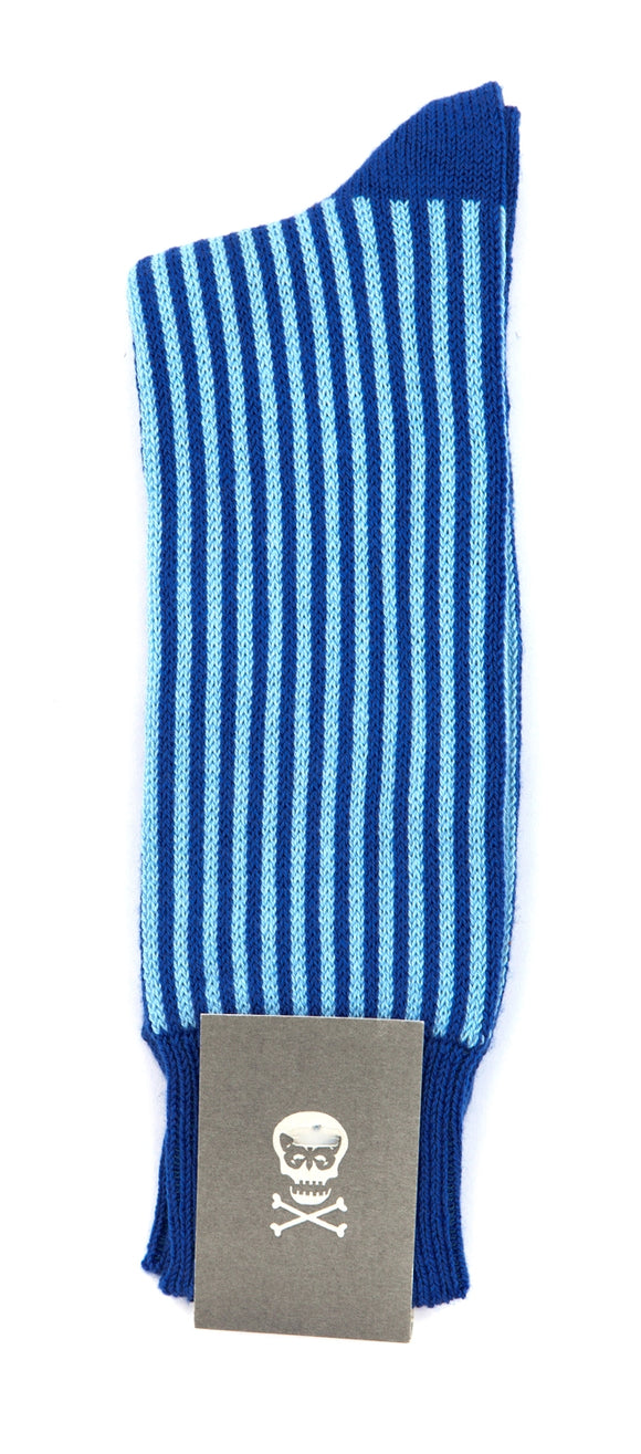 Regent Cotton Socks- Pale Blue and Blue stripe