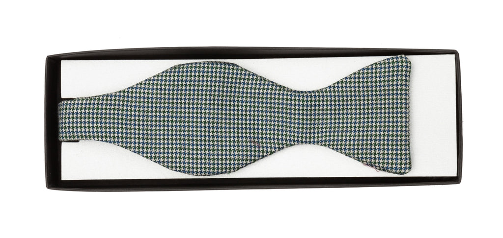 Regent - Wool Bow Tie - Blue and Green Pattern - Regent Tailoring