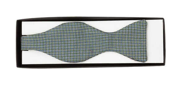 Regent Wool Bow Tie - Blue and Green Pattern - Regent Tailoring