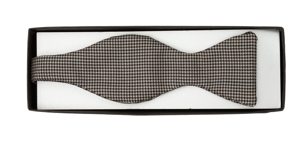 Regent - Wool Bow Tie - Brown and Blue Pattern - Regent Tailoring