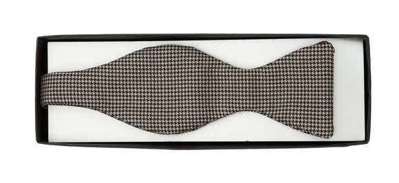 Regent Wool Bow Tie - Brown and Blue Pattern - Regent Tailoring
