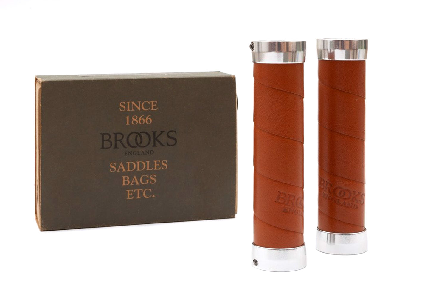 Brooks Slender Leather Grips - Replacement Handle Bars - Brown