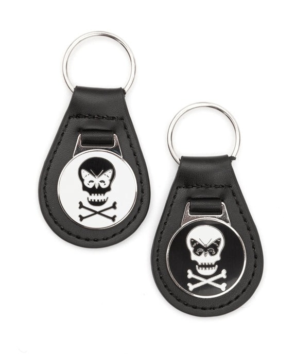 Regent Skull Leather Keyring