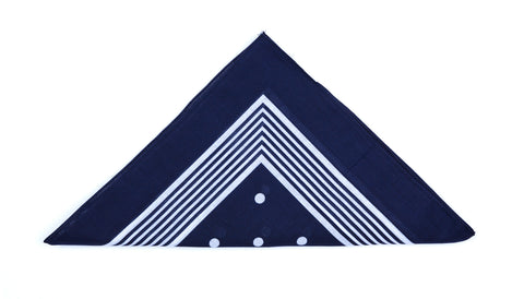 Regent - Cotton Hanky - Bandana - Navy with White pattern