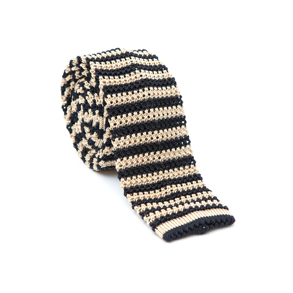 Regent Knitted Silk Tie - Navy and Champagne Stripe