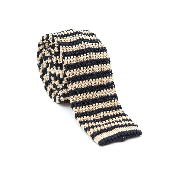 Regent Knitted Silk Tie - Navy and Champagne Stripe - Regent Tailoring