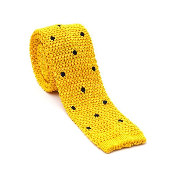 Regent Knitted Silk Tie - Gold with Navy Spots