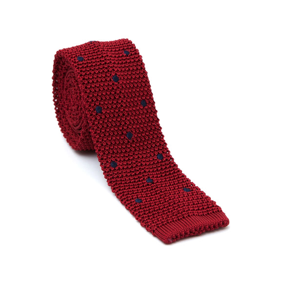 Regent Knitted Silk Tie - Red with Navy Spots