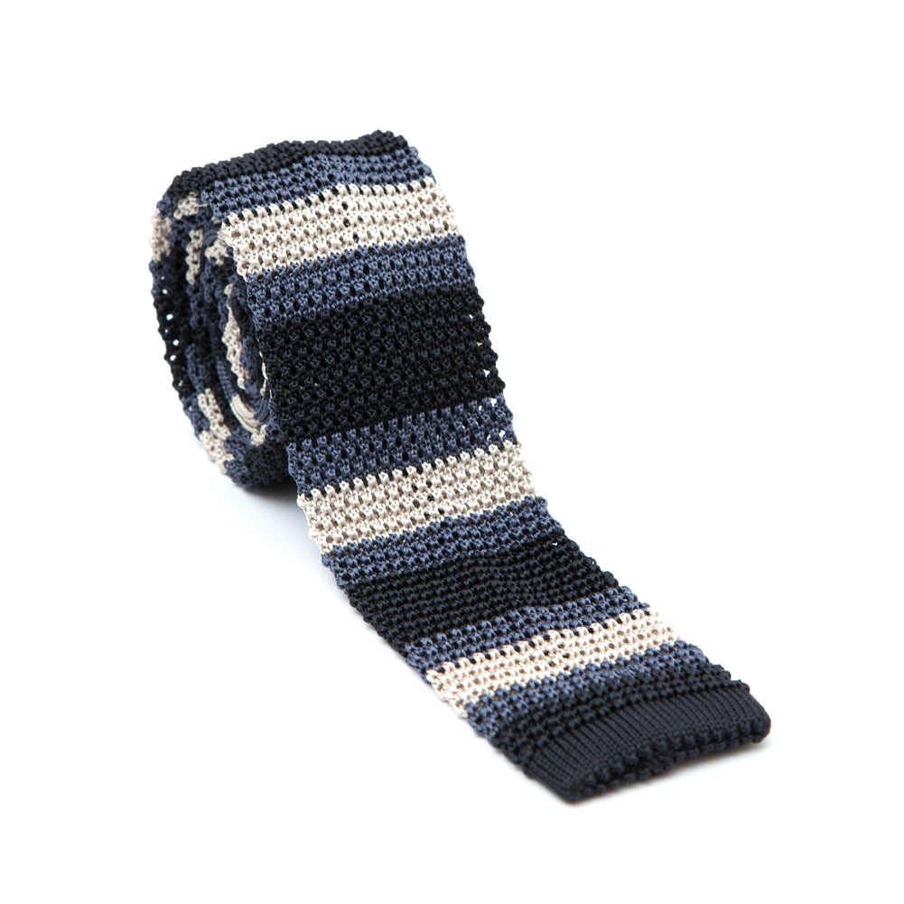 Regent - Knitted Silk Tie - Blue and Champagne - Stripe - Regent Tailoring