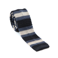Regent - Knitted Silk Tie - Blue and Champagne - Stripe