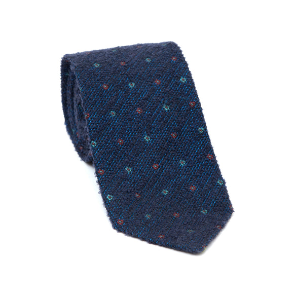Regent Textured Wool And Silk Tie - Navy Blue With Mini Flowers