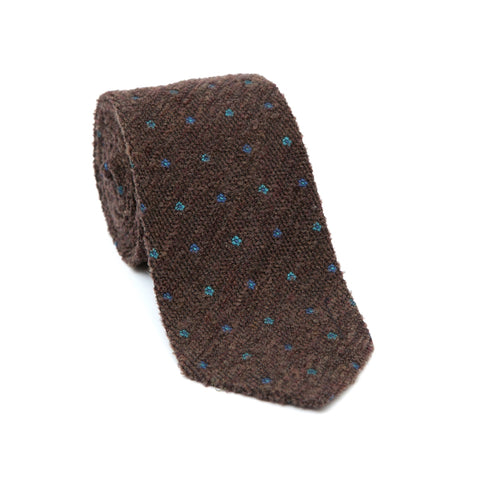 Regent Textured Wool And Silk Tie - Brown With Mini Flowers