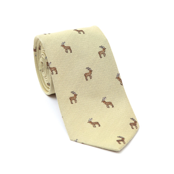 Regent Woven Silk Tie- Cream with Stags