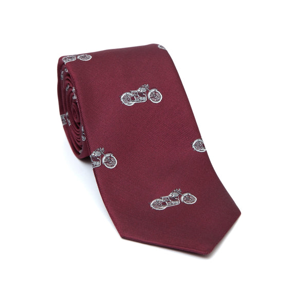 Regent Woven Silk Tie- Burgundy with Bikes