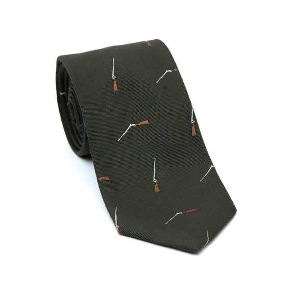 Regent Woven Silk Tie- Olive Green with Shotgun