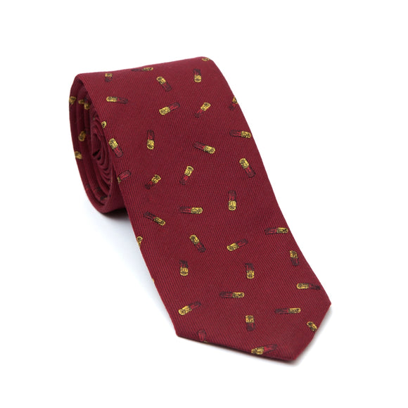 Regent Woven Silk Tie- Burgundy with Cartridge Case