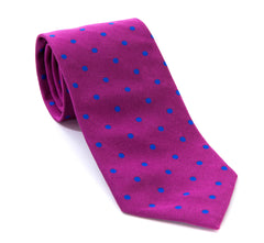 Regent - Woven Silk Tie - Purple with Blue Spots