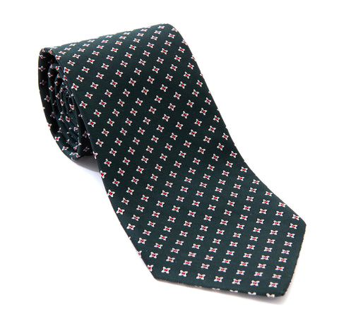 Regent Woven Silk Tie - Deep Green with White and Red Flower