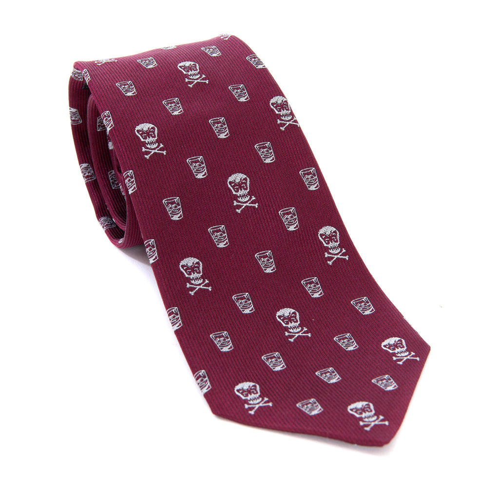 Regent - Woven Silk Tie - Burgundy with Skull and Whisky - Regent Tailoring