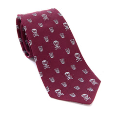 Regent - Woven Silk Tie - Burgundy with Skull and Whisky