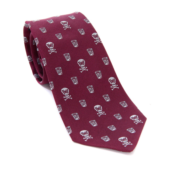 Regent Woven Silk Tie - Burgundy with Skull and Whisky