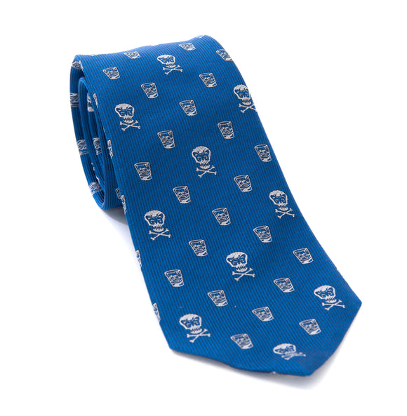 Regent Woven Silk Tie - Blue with Skull and Whisky
