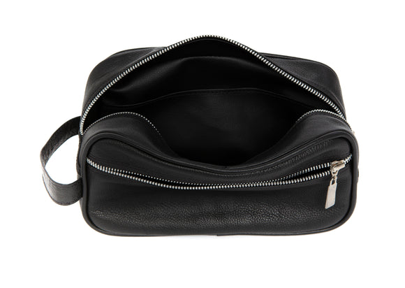 Pioneros Black Leather Wash Bag