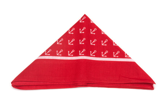 Regent Cotton Hanky - Bandana - Red Anchors
