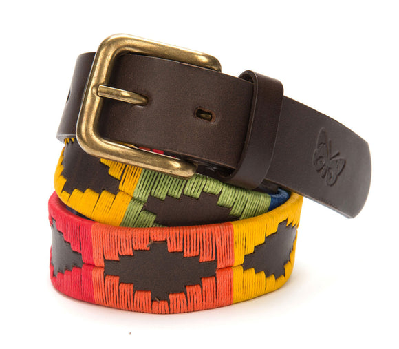 Regent - Polo Belt - Embroidered - Leather - Rainbow multi