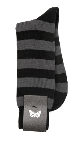 Regent Cotton Socks - Black and Grey Stripes