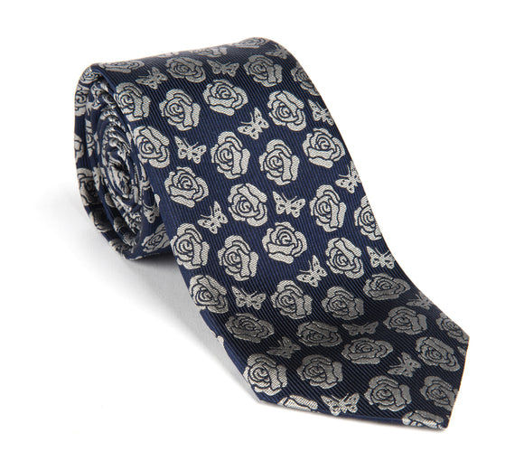 Regent Woven Silk Tie - Navy and Silver Rose and Butterly Logo