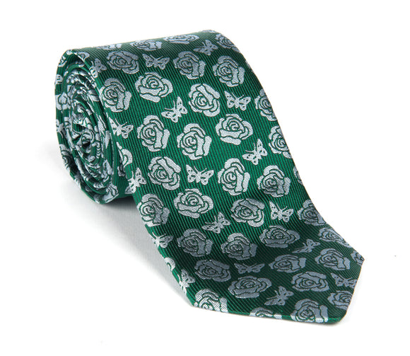 Regent Woven Silk Tie- Green and Silver Rose and Butterfly Logo