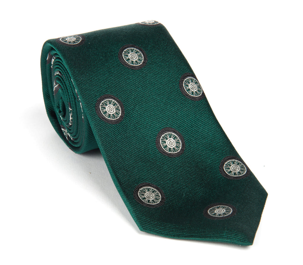 Regent - Woven Silk Tie - Dark Green with Bike Wheels - Regent Tailoring