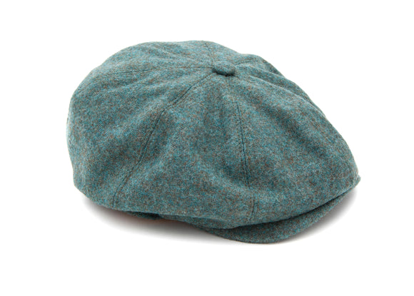 Regent - 8-Piece Baker Boy Cap - Green Teal - Tweed - Regent Tailoring