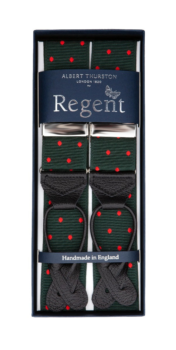 Regent x Albert Thurston - Braces - Green w/ Red Spot - Regent Tailoring