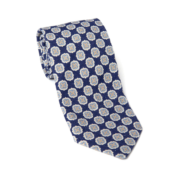 Regent Woven Silk Tie - Blue w/ White Flower