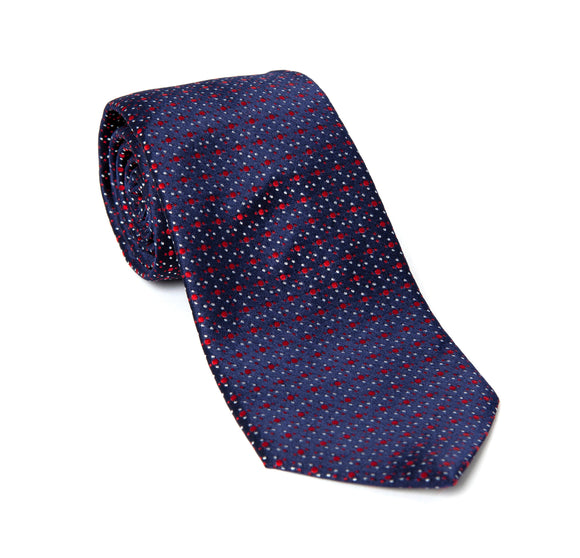 Regent Woven Silk Tie - Blue w/ Red and White Spot