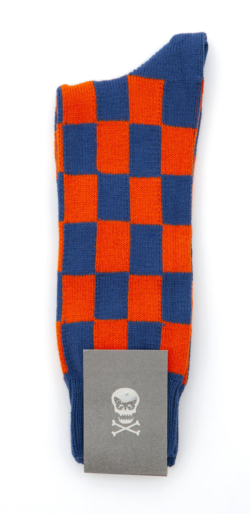 Regent Socks - Blue and Orange Tile - Regent Tailoring