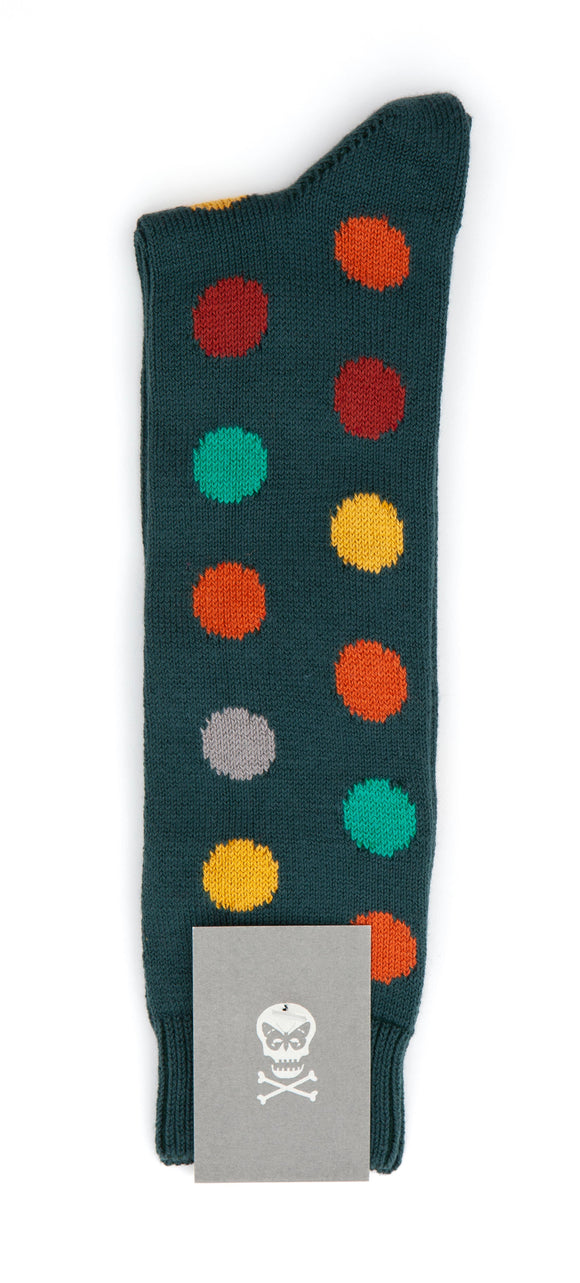 Regent Cotton Socks - Deep Green w/ Spots