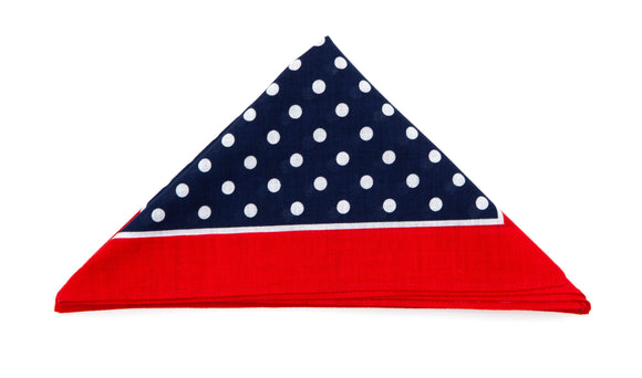Regent Cotton Hanky - Bandana - Navy, White Spots, Red Border