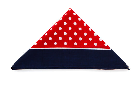Regent Cotton Hanky - Bandana - Red, White Spots, Navy Border