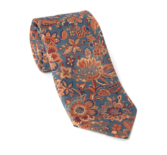 Regent Woven Silk Tie - Blue with Multi-Flowers