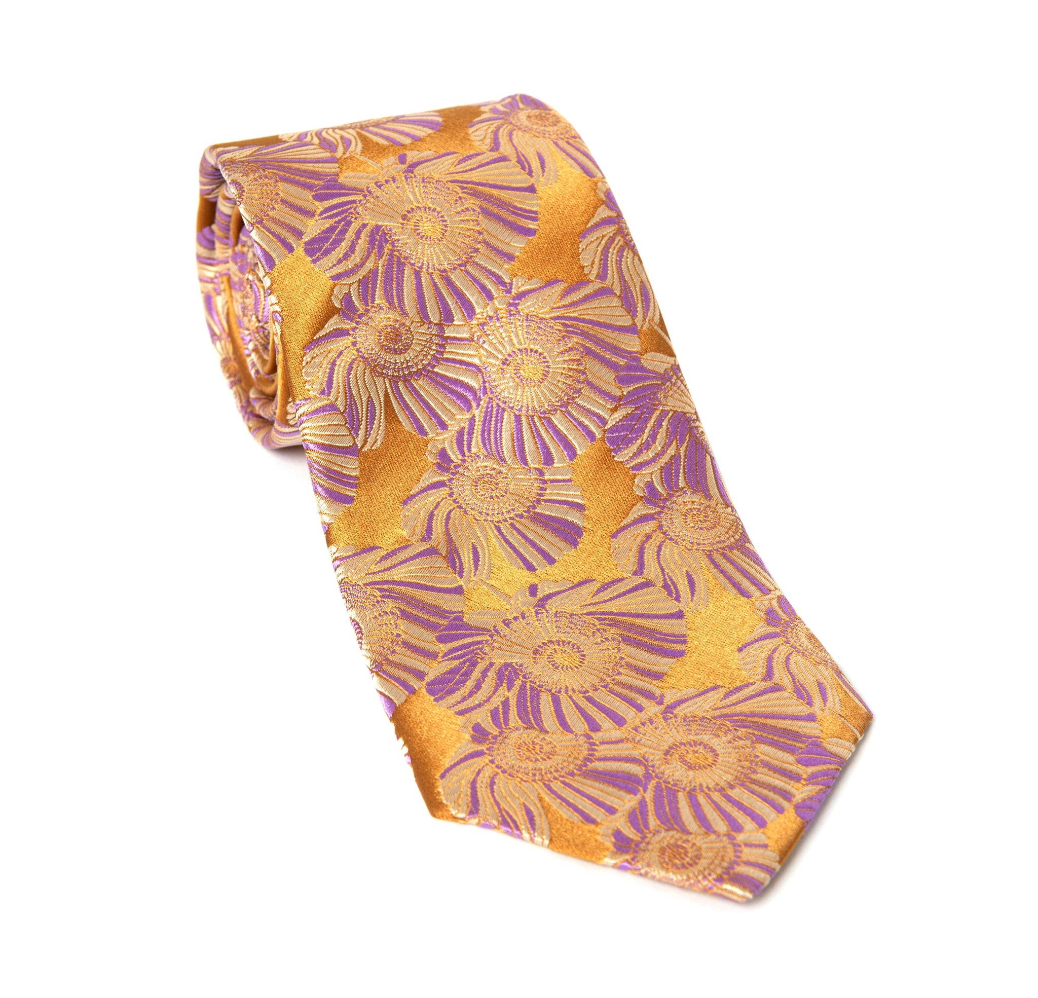 Regent Woven Silk Tie - Gold and Purple Flower