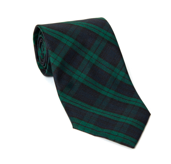 Regent Woven Silk Tie - Green and Navy Tartan