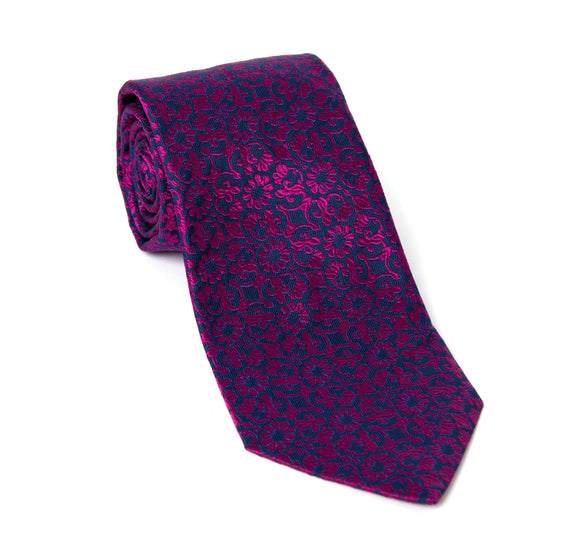 Regent Woven Silk Tie - Purple Floral Pattern