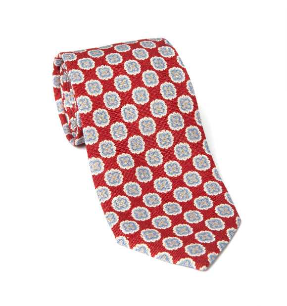 Regent Woven Silk Tie - Red w/ White Flowers