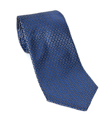 Regent - Woven Silk Tie - Blue Geometric Wave Pattern