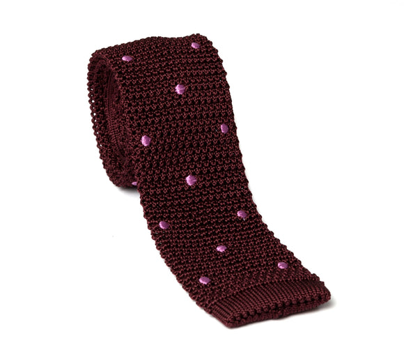 Regent Knitted Silk Tie - Maroon with Pink Spot
